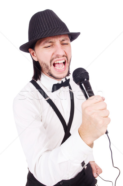 Funny man singing isolated on the white Stock photo © Elnur