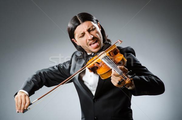Człowiek skrzypce gracz zabawy dźwięku mężczyzna Zdjęcia stock © Elnur