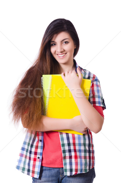 Stockfoto: Jonge · vrouwelijke · student · geïsoleerd · witte · boeken