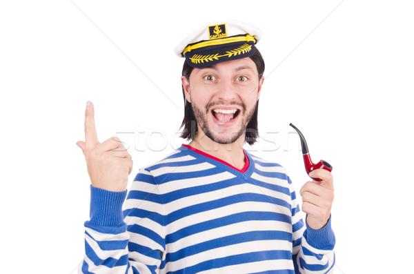 смешные моряк изолированный белый лице морем Сток-фото © Elnur