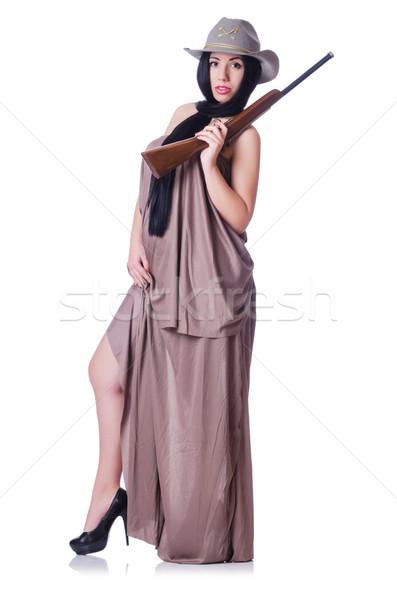 Cowgirl with rifle isolated on the white Stock photo © Elnur