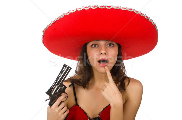 Mulher vermelho sombrero isolado branco Foto stock © Elnur