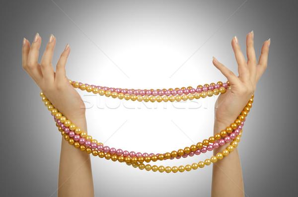 真珠 ネックレス 手 白 抽象的な 背景 ストックフォト © Elnur