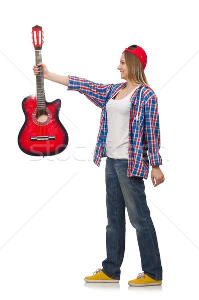 Donna chitarra isolato bianco musica party Foto d'archivio © Elnur