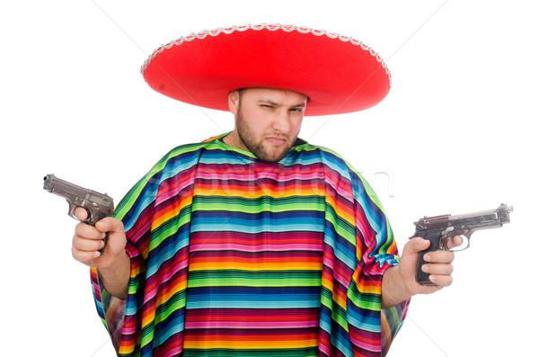 Vicces mexikói tart pisztoly izolált fehér Stock fotó © Elnur