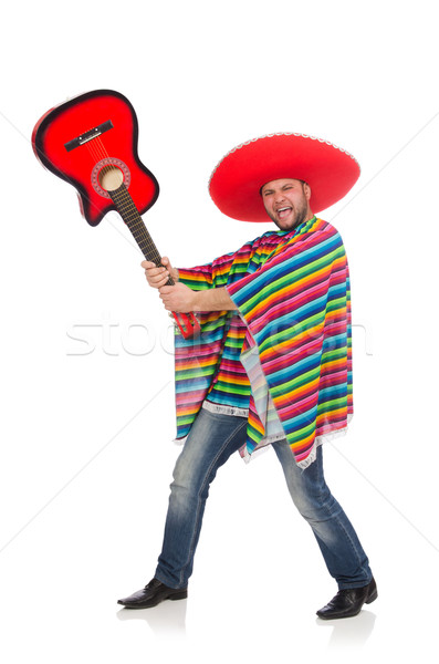 Funny mexican with guitar isolated on white Stock photo © Elnur