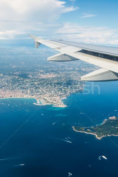 Uçak kanat dışarı pencere teknoloji mavi Stok fotoğraf © Elnur