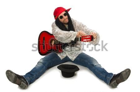 Mulher guitarrista isolado branco música festa Foto stock © Elnur
