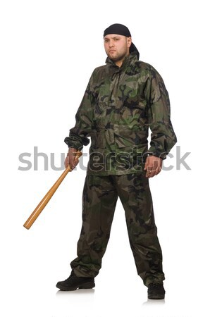 Young man in soldier uniform holding gun isolated on white Stock photo © Elnur