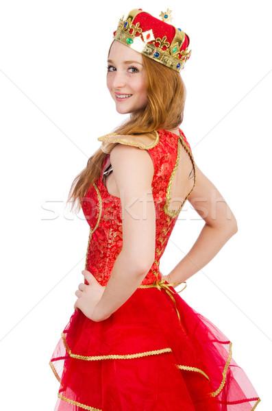 Regina vestito rosso isolato bianco lavoro oro Foto d'archivio © Elnur