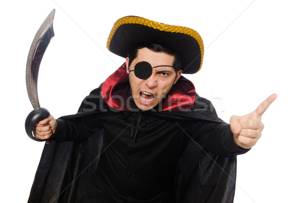 Stock photo: One eyed pirate with sword isolated on white