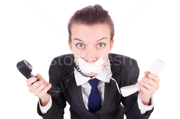 Woman with her mouth sealed isolated on white Stock photo © Elnur