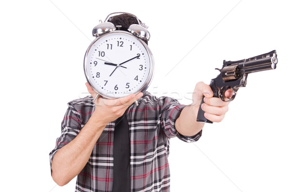 Werknemer wekker wapen geïsoleerd witte Stockfoto © Elnur