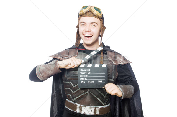 Funny pilot with movie board Stock photo © Elnur