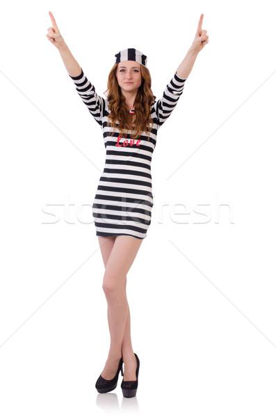 Pretty girl in prisoner uniform isolated on white Stock photo © Elnur