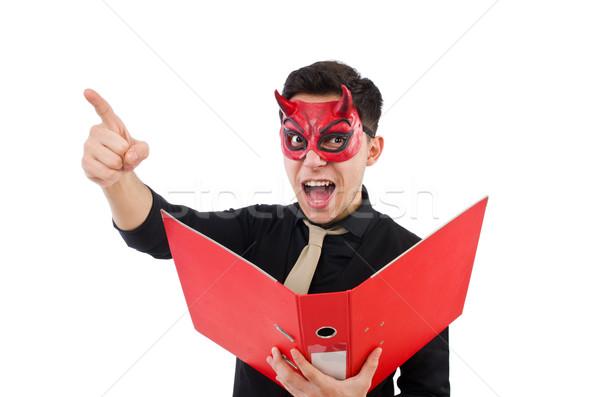 Diabeł czerwony folderze odizolowany biały Zdjęcia stock © Elnur