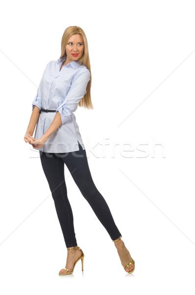 женщину синий блузка изолированный белый фон Сток-фото © Elnur