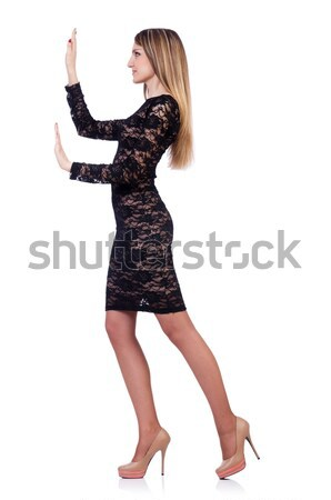 красивая женщина Leopard платье изолированный белый женщину Сток-фото © Elnur