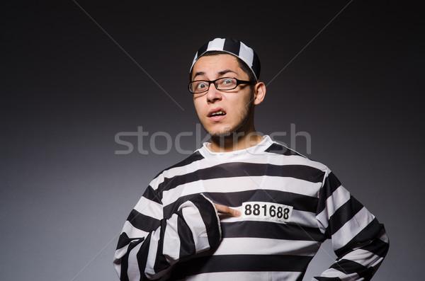 ストックフォト: 面白い · 囚人 · 孤立した · グレー · 肖像 · 黒