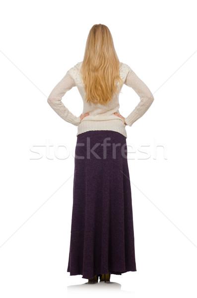Bastante menina violeta longo vestir isolado Foto stock © Elnur