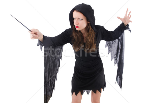 Witch with magic wand isolated on white Stock photo © Elnur