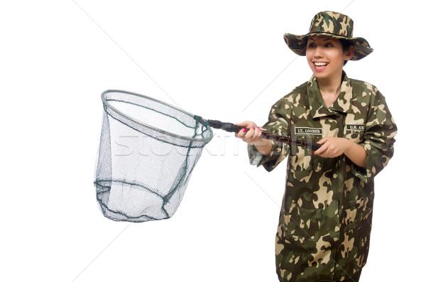 Donna militari abbigliamento net primavera sorriso Foto d'archivio © Elnur