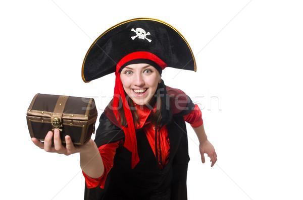 Female pirate in black coat isolated on white Stock photo © Elnur