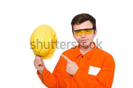 Hombre naranja aislado hombre blanco blanco negocios Foto stock © Elnur