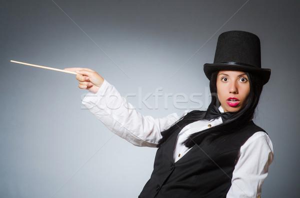 Kobieta magik funny dziewczyna retro hat Zdjęcia stock © Elnur