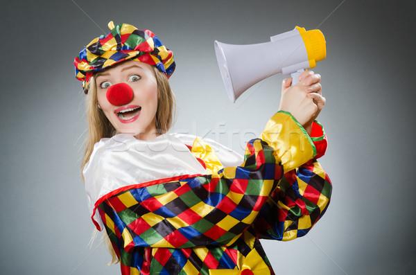 Clown altoparlante isolato bianco party compleanno Foto d'archivio © Elnur