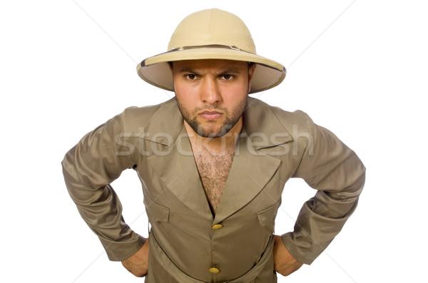 Hombre safari sombrero aislado hombre blanco blanco Foto stock © Elnur
