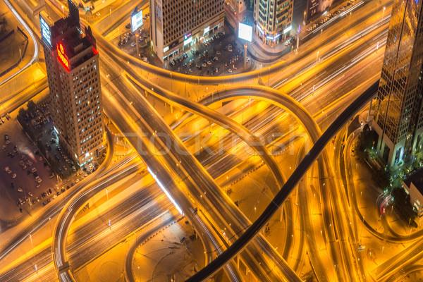 Dubai Straße Kreuzung Nacht Himmel Gebäude Stock foto © Elnur