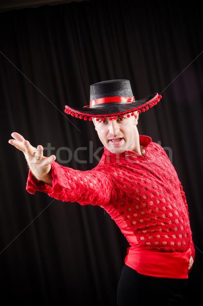 Człowiek taniec hiszpanski dance czerwony odzież Zdjęcia stock © Elnur