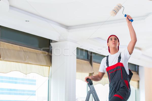 小さな 画家 絵画 天井 建設 壁 ストックフォト © Elnur