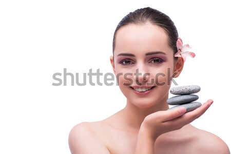 Young woman during spa session isolated on white Stock photo © Elnur