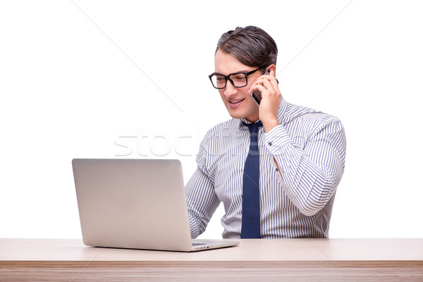 Handsome businessman working with laptop computer isolated on wh Stock photo © Elnur