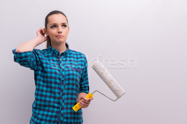 Woman painting house in DIY concept Stock photo © Elnur