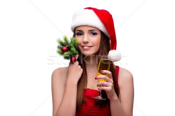 ストックフォト: 小さな · サンタクロース · 少女 · クリスマス · 孤立した · 白