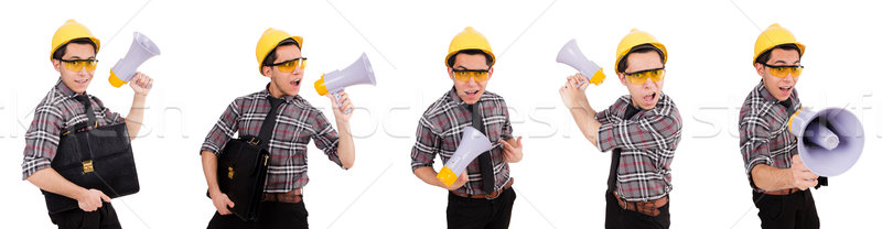 Jonge bouwvakker luidspreker geïsoleerd witte business Stockfoto © Elnur