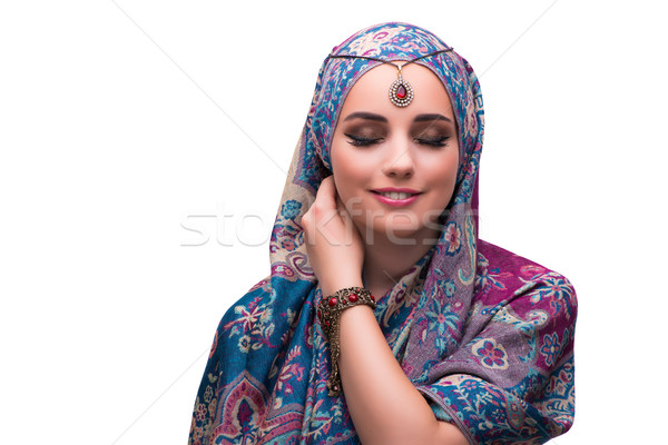 Woman in traditional muslim clothing isolated on white Stock photo © Elnur