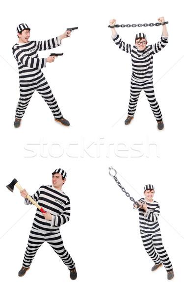 Funny więzienia więzień człowiek pistolet samobójstwo Zdjęcia stock © Elnur