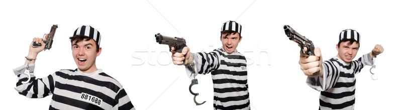Vicces börtön bennlakó férfi fegyver öngyilkosság Stock fotó © Elnur