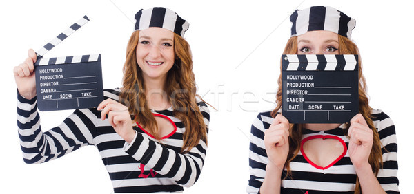 The young woman-prisoner with movie board isolated on white Stock photo © Elnur