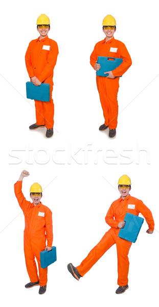 Man in orange coveralls isolated on white Stock photo © Elnur