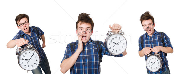 Student missing his studying deadlines on white Stock photo © Elnur