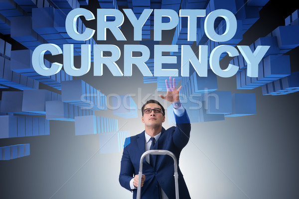 Stock photo: Businessman in blockchain cryptocurrency concept