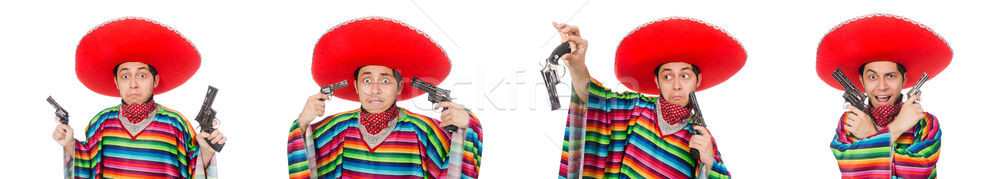The funny mexican with weapon isolated on white Stock photo © Elnur