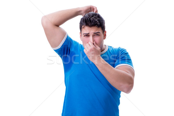 Man sweating excessively smelling bad isolated on white backgrou Stock photo © Elnur