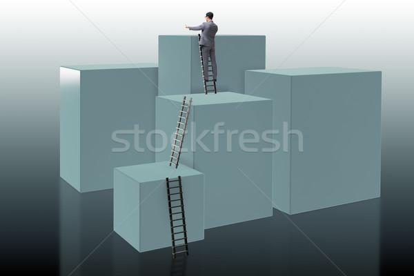 ビジネスマン 登山 ブロック 挑戦 ビジネス 作業 ストックフォト © Elnur