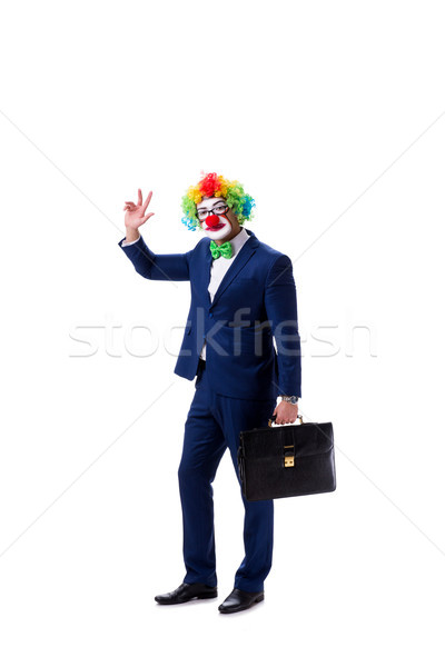 Funny clown businessman isolated on white background Stock photo © Elnur